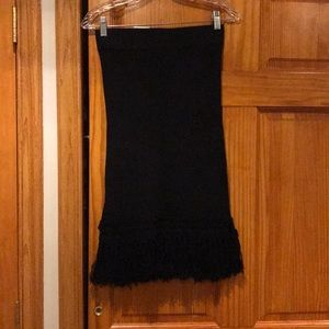 Club Monaco Black Fringe Midi Skirt sz XS
